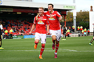 Adam King (l) of Crewe Alexandra celebrates with his teammates after scoring his teams 1st goal. Skybet football league 1 match, Crewe Alexandra v Swindon Town at The Alexandra Stadium in Crewe, Cheshire on Saturday 5th September 2015.<br /> pic by Chris Stading, Andrew Orchard sports photography.