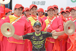 September 16, 2016 - Wuhan, China - Colombian rider Mauricio Ortega from RTS - Monton Racing team celebrates his third place in the General Classification, after finishing the final sixth stage, 99.6km Wuhan Xinzhou Circuit race, of the 2016 Tour of China 1..On Friday, 16 September 2016, in Xinzhou, Wuhan , China. (Credit Image: © Artur Widak/NurPhoto via ZUMA Press)