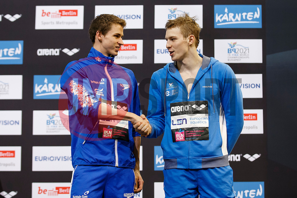 Ben Proud of Great Britain ties for the Bronze medal in the Mens 50m Butterfly Final with Andriy Govorov of Ukraine - Photo mandatory by-line: Rogan Thomson/JMP - 07966 386802 - 19/08/2014 - SPORT - SWIMMING - Berlin, Germany - Velodrom im Europa-Sportpark - 32nd LEN European Swimming Championships 2014 - Day 7.