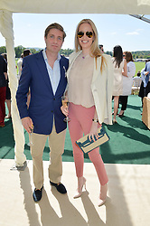 The HON.HENRY BROUGHTON son of the 3rd Lord Fairhaven and his fiance ANGELA HAMPSHIRE at the St.Regis International Polo Cup at Cowdray Park, Midhurst, West Sussex on 16th May 2015.