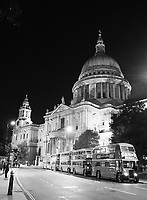 Vintage Buses in London at Night, St. Paul's Cathedral, London, UK, 07 September 2019, Photo by Richard Goldschmidt