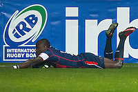 Takudzwa Ngwenya of USA scores his first try during the rugby test match against Romania, on National Stadium Arc de Triomphe in Bucharest, November 8, 2014. Romania lose the match against USA, final score 17-27.