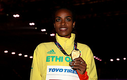 Ethiopia's gold medal winner Genzebe Dibaba after the 1500m Final during day three of the 2018 IAAF Indoor World Championships at The Arena Birmingham.
