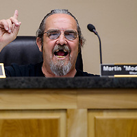 """Grants mayor Martin """"Modey"""" Hicks responds to questions during the city council meeting at Grants City Hall Monday."""
