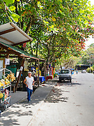 Street scene with vendors, Puerto Viejo, Limon, Costa Rica.