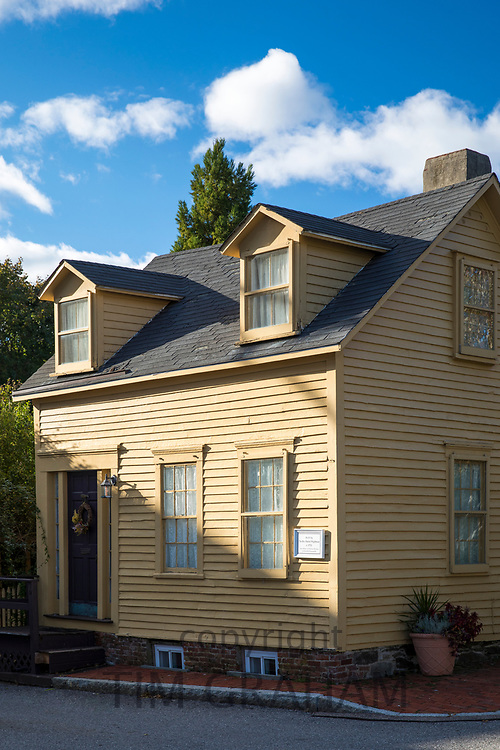 Typical traditional neat painted wooden clapboard house in Newport, Rhode Island, USA