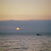 A small fishing boat in Castro, Puglia, Italy