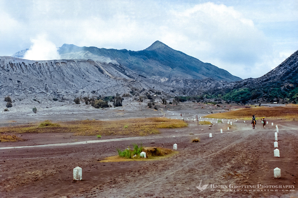 Java, East Java, Mount Bromo. Riding to Mount Bromo on the plain called the Sea of Sand.