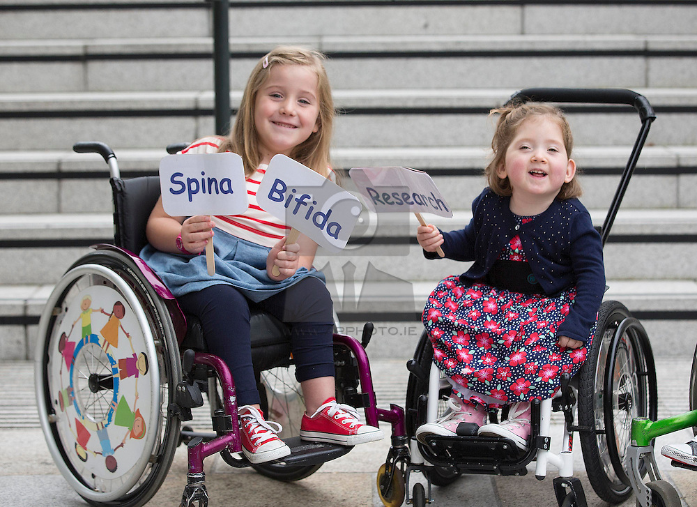 Repro Free: 03/09/2014<br /> Emily Fitzsimons (7) from Kildare and Lara Bayliss (3) from Bray Co Wicklow are pictured at the launch of the Temple Street national Spina Bifida services research report. This report shows the gross under-resourcing of services for children with Spina Bifida both in Temple Street and across the country. These children have extremely complex needs but the research showed that 54% of them do not have access to a multidisciplinary team (MDT) clinic despite the fact that 69% of children with SB over three years use a wheelchair, 93% of them over five years require continence support and 64% of them have a VP shunt to manage hydrocephalus. Picture Andres Poveda