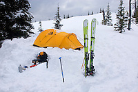 Winter backcountry camp on Big Buck Mountain, Manning Provincial Park British Columbia Canada