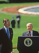 President  H W Bush and Mikhail S. Gorbachev photographed at  the arrival ceremony on the South Lawn at the Washington summit in May 1990..Photograph by Dennis Brack bb24