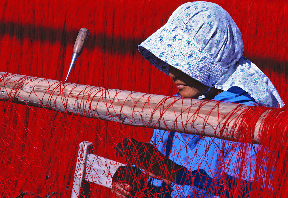 A net mender's repair tool is stuck in the drying rack at Nikiri, Ago Bay, Honshu, Japan.