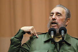 FIDEL ALEJANDRO CASTRO RUZ (August 13, 1926 - November 25, 2016), commonly known as Fidel Castro, was a Cuban politician and revolutionary who governed the Republic of Cuba as Prime Minister from 1959 to 1976 and then as President from 1976 to 2008. Castro was a controversial and divisive world figure. FILE PICTURE: Aug 01, 2006; Havana - Veteran Cuban leader FIDEL CASTRO has temporarily handed power to his brother Raul because of illness. Photo shows Fidel Castro address a group of international and University of Hanava students at an assembly hall in the Miramar district of Havana. (©) Copyright 2006 by Michael A. Mariant