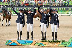 Team Germany, Silver medal, Auffarth Sandra, Jung Michael, Klimke Ingrid, Krajewski Julia, GER<br /> Olympic Games Rio 2016<br /> © Hippo Foto - Dirk Caremans<br /> 09/08/16