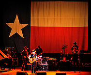 Sunday, Feb. 28, 2010-SAN ANTONIO-Willie Nelson perfoms at a sold-out Majestic Theater in San Antonio with the state flag of Texas as a backdrop. Photo by Robin Jerstad