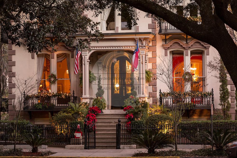 Christmas decorations on the Hamilton Turner Inn in Lafayette Square Savannah, GA.