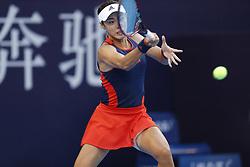 BEIJING, Oct. 2, 2018  Wang Qiang of China hits a return during the women's singles second round match against Jelena Ostapenko of Latvia at China Open tennis tournament in Beijing, China, Oct. 2, 2018. Wang Qiang won 2-0. (Credit Image: © Jia Haocheng/Xinhua via ZUMA Wire)