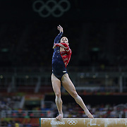 Gymnastics - Olympics: Day 2  Alexandra Raisman #395 of the United States performing her routine on the Balance Beam during the Artistic Gymnastics Women's Team Qualification round at the Rio Olympic Arena on August 7, 2016 in Rio de Janeiro, Brazil. (Photo by Tim Clayton/Corbis via Getty Images)
