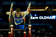 Sam Oldham of Great Britain (GBR) on the Parallel bars during the iPro Sport World Cup of Gymnastics 2017 at the O2 Arena, London, United Kingdom on 8 April 2017. Photo by Martin Cole.