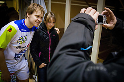 Stas Skube of Slovenia with fans after the friendly handball match between National Teams of Slovenia and F.Y.R. of Macedonia on December 28, 2013 in Sports hall Polaj, Trbovlje, Slovenia. Photo by Vid Ponikvar / Sportida