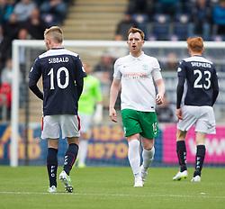 Hibernian's Liam Craig with Falkirk's Craig Sibbald. <br /> Falkirk 0 v 3 Hibernian, Scottish Championship game played at The Falkirk Stadium 2/5/2015.
