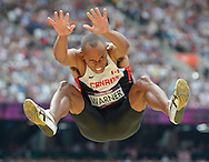 Canada's Damian Warner competes in the Long Jump of the Men's Decathlon at the London 2012 Summer Olympics on August 8, 2012 in Stratford, London. Warner's best mark was 7.54M.  (UPI)