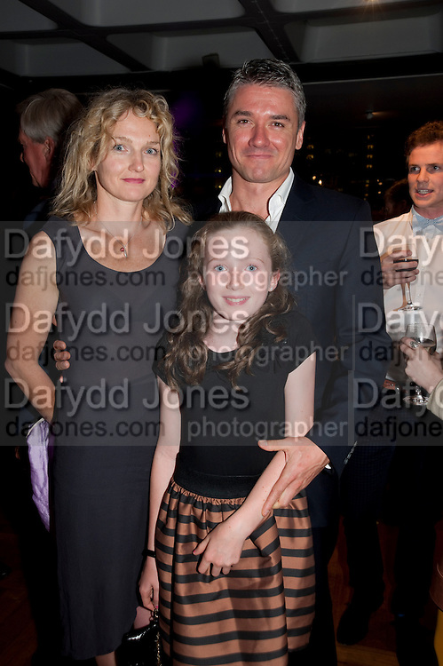 RACHEL TAYLOR; DOMINIC TAYLOR; LILY TAYLOR, South Pacific First night party. The Barbican. London. 23 August 2011. <br /> <br />  , -DO NOT ARCHIVE-© Copyright Photograph by Dafydd Jones. 248 Clapham Rd. London SW9 0PZ. Tel 0207 820 0771. www.dafjones.com.