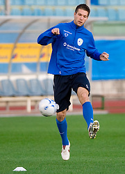 Bostjan Cesar of Slovenian National football team at practice a day before the last 2010 FIFA Qualifications match between San Marino and Slovenia, on October 13, 2009, in Olimpico Stadium, Serravalle, San Marino.  (Photo by Vid Ponikvar / Sportida)