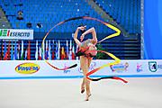 Ashirbayeva Sabina during qualifying at ribbon in Pesaro World Cup 11 April 2015.<br /> Sabina born on November 5, 1998 in Shymkent, she is an individual Kazakh rhythmic gymnast