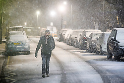 © Licensed to London News Pictures. 01/02/2019. London, UK. A commuter make his way to work in heavy snowfall in Maida Vale, West London as large parts of the UK are deluged with snow and freeing temperatures. Photo credit: Ben Cawthra/LNP
