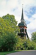 Historic wooden belfry of Habo Church , Jönköping County, Sweden, 1970