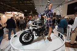 """Shinya Kimura custom commissioned by Yamaha as part of their """"Faster Sons"""" program in the Yamaha display at EICMA, the largest international motorcycle exhibition in the world. Milan, Italy. November 19, 2015.  Photography ©2015 Michael Lichter."""