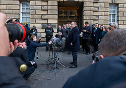 Alex Salmond talks to the press outside the High Court.