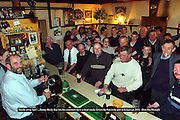 """'Smoke away lads"""".... <br /> Kerry county councillor Danny Healy-Rae who will not be implementing the smoking ban in his pub in Kilgarvan pictured with customers in his pub at the weekend.<br /> Picture: Don MacMonagle"""