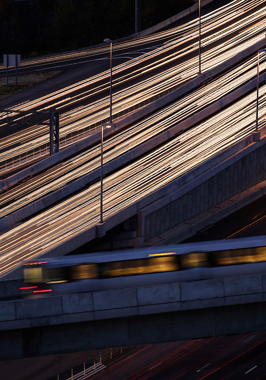 Metro train crossing the beltway in McLean Virginia