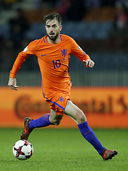 Davy Propper of Holland during the FIFA World Cup 2018 qualifying match between Belarus and Netherlands on October 07, 2017 at Borisov Arena in Borisov,  Belarus