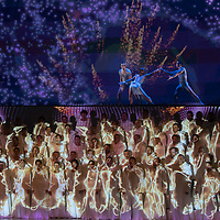 3D projection mapping of artists from team Freelusion light up the dress rehearsal of Carmina Burana by Carl Orff newly applied on stage by conductor Tibor Boganyi incorporating the members of the Hungary National Ballet and the Hungarian State Opera Children's Chorus in Budapest, Hungary on Sept. 21, 2018. ATTILA VOLGYI