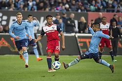 April 29, 2018 - Bronx, New York, United States - New York City midfielder MAXIMILIANO MORALEZ (10) blocks a pass by FC Dallas midfielder JACORI HAYES (15) during a regular season match at Yankee Stadium in Bronx, NY.  NYCFC defeats FC Dallas 3 to 1. (Credit Image: © Mark Smith via ZUMA Wire)
