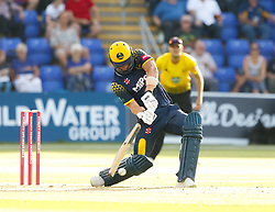 Glamorgan's Craig Meschede strikes the ball<br /> <br /> Photographer Simon King/Replay Images<br /> <br /> Vitality Blast T20 - Round 8 - Glamorgan v Gloucestershire - Friday 3rd August 2018 - Sophia Gardens - Cardiff<br /> <br /> World Copyright © Replay Images . All rights reserved. info@replayimages.co.uk - http://replayimages.co.uk