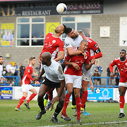TELFORD COPYRIGHT MIKE SHERIDAN Shane Sutton of Telford battles for a header in a crowded penalty area during the Vanarama Conference North fixture between AFC Telford United and Brackley Town at the New Bucks Head on Saturday, January 4, 2020.<br /> <br /> Picture credit: Mike Sheridan/Ultrapress<br /> <br /> MS201920-039