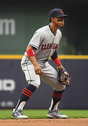 May 8, 2018 - Milwaukee, WI, U.S. - MILWAUKEE, WI - MAY 08: Cleveland Indians Shortstop Francisco Lindor (12) gets into position during a MLB game between the Milwaukee Brewers and Cleveland Indians on May 8, 2018 at Miller Park in Milwaukee, WI. The Brewers defeated the Indians 3-2.(Photo by Nick Wosika/Icon Sportswire) (Credit Image: © Nick Wosika/Icon SMI via ZUMA Press)