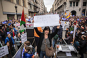 """Huge protest in Barcelona to demand the government allow more refugees into Spain and Catalonia. The demonstration it's supposed to be the higher in Europe till the moment. Nearly 500.000 persons quoted by local media, 160.000 quoted by the police. Marchers have carried placards and banners with messages in catalan as """"we want to host refugees"""", """"no more excuses"""", open the borders"""". Refugees have participated in the march carrying placards with """"we don't want to be used"""", """"more solidarity"""". The protest has ended into the sea, with a performance carried by the NGO Proactiva Open Arms, where a group of few people have been rescued from the sea. Between the organizers also there were refugees. Since September 2015 Spain has accepted 1.100 refugees although promised to take in up to 17,337 in these two years. 18th February, Barcelona."""