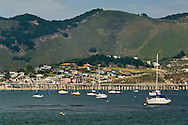 Boats anchored in San Luis Obispo Bay, near Avila Beach, California