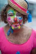 """Clown at """"Seoul Station"""" on a Sunday morning in the South Korean capital."""