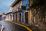 A colonial style cobble stone street in the historic center of Xalapa, Veracruz, Mexico.