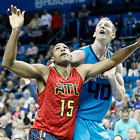 01 November 2015: Atlanta Hawks forward Al Horford (15) vies for the rebound with Charlotte Hornets forward Cody Zeller (40) during the Atlanta Hawks 94-92 victory over the Charlotte Hornets, at the Time Warner Cable Arena, in Charlotte, North Carolina, USA.