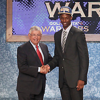 28 June 2012: Harrison Barnes, picked up by the Golden State Warriors, poses with David Stern during the 2012 NBA Draft, at the Prudential Center, Newark, New Jersey.