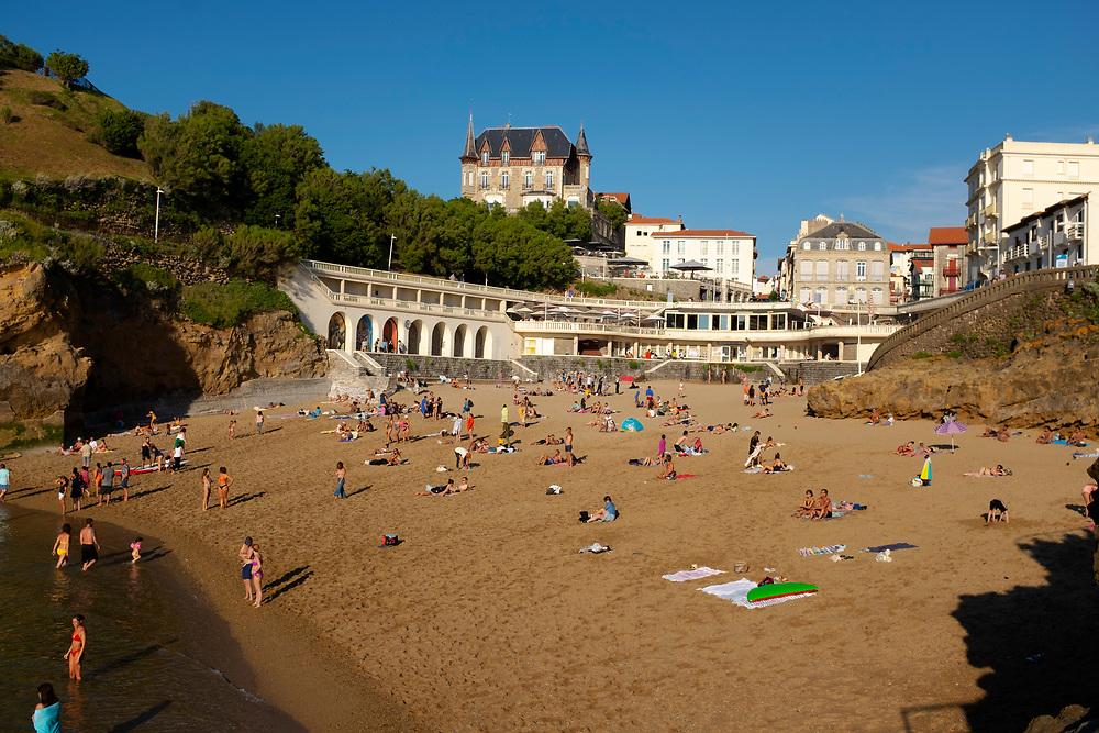 Plage du Port Vieux, Biarritz, France during Covid 19 Pandemic, Summer 2020.