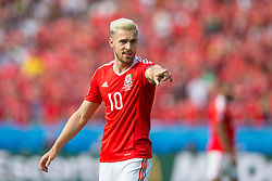 PARIS, FRANCE - Saturday, June 25, 2016: Wales' Aaron Ramsey in action against Northern Ireland during the Round of 16 UEFA Euro 2016 Championship match at the Parc des Princes. (Pic by Paul Greenwood/Propaganda)
