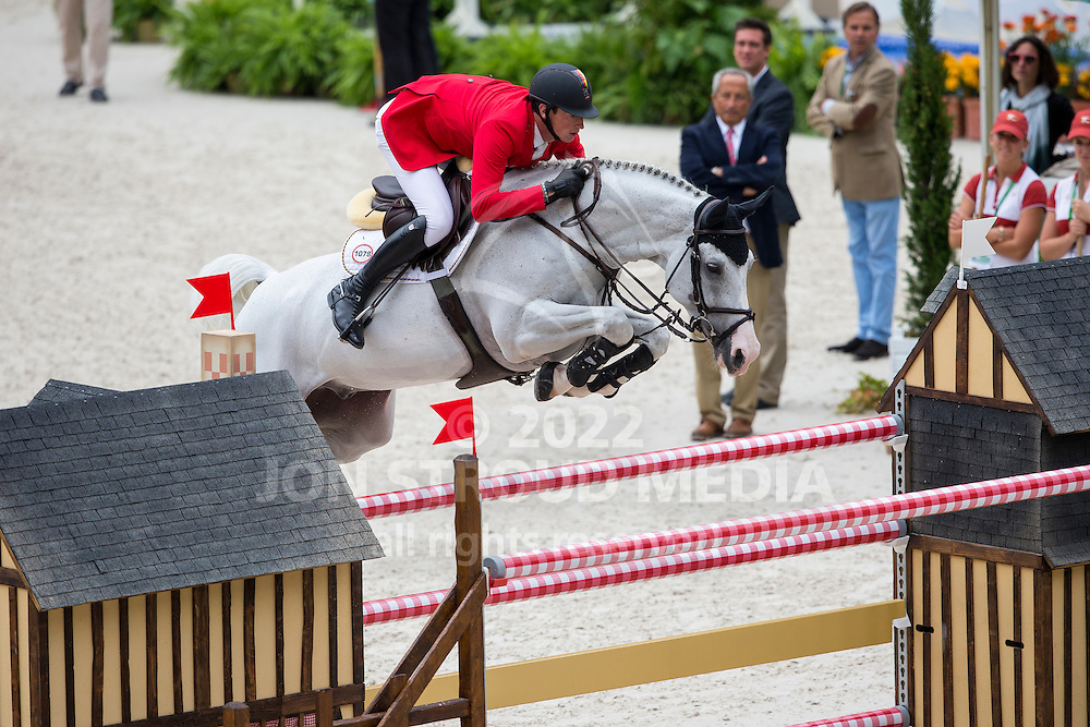 Daniel Deusser, (GER), Cornet D Amour - Team & Individual Competition Jumping Speed - Alltech FEI World Equestrian Games™ 2014 - Normandy, France.<br /> © Hippo Foto Team - Leanjo De Koster<br /> 02-09-14